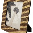 "Hand-crafted Natural Cocostick Zebra Picture Frame Two-ways (5""x7"" or 7""x5"") with Stand"