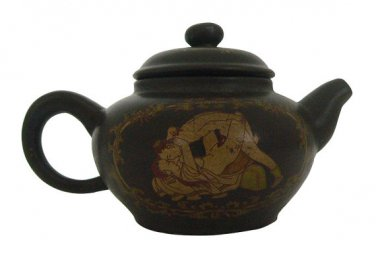 Vintage Hand-crafted Oriental Yixing Clay Teapot - Ancient Chinese Erotic Art (6 oz)