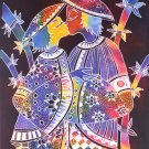 Original Batik Art Painting on Cotton, 'Kissing Couple' by Zabid (45cm x 75cm)