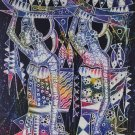Original Batik Art Painting on Cotton, 'Ladies Carrying Basket of Fish' by Zabid (45cm x 75cm)