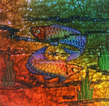 Original Batik Art Painting on Cotton Fabric, 'Ocean' By Khairy (30cm X 30cm)