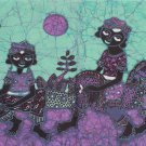 Original Batik Art Painting on Cotton Fabric, 'Village People' By Jabriel (66cm X 22cm)