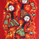 Original Batik Art Painting on Cotton Fabric, 'Musical' By Dewa (45cm X 75cm)