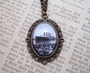 Titanic Inspired Vintage Brass Pendant Necklace