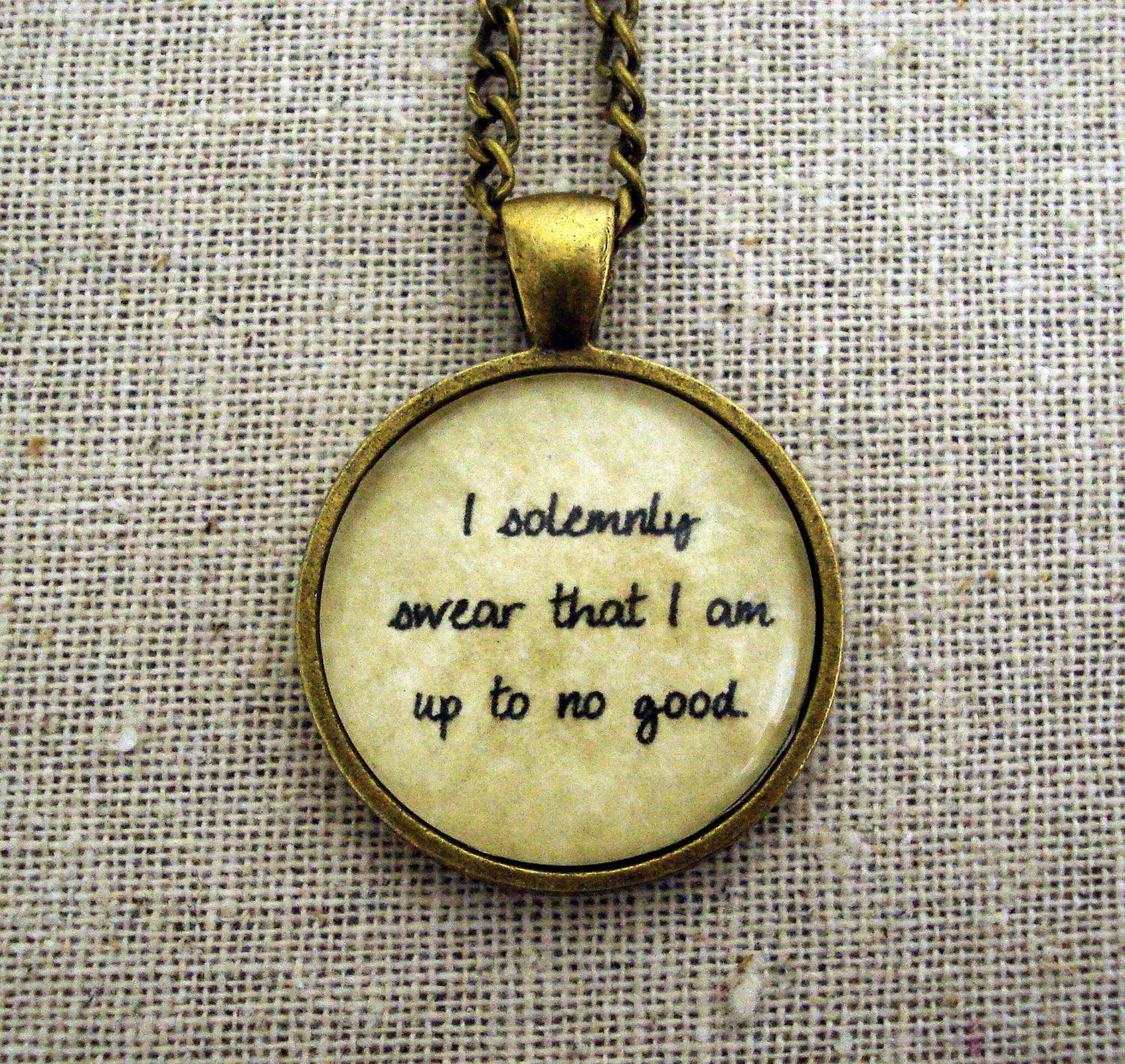 Harry Potter Inspired I Solemnly Swear That I Am Up To No Good Pendant Necklace, Cursive
