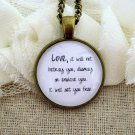 Mumford and Sons Inspired Lyrical Quote Necklace Love Will Not Betray You (Brass, 18 inches)