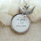 The Notebook Inspired Bird Quote Pendant Necklace (Silver, 18 inches)