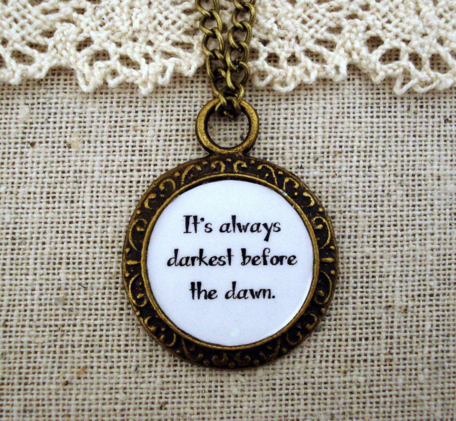 Florence and the Machine Shake It Out Inspired Lyrical Quote Necklace Darkest (Brass, 18 inches)