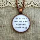 Florence and the Machine Inspired Lyrical Quote Necklace Shake Him Off (Copper)