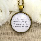 Mumford and Sons Inspired Lyrical Quote Necklace Lover of The Light (Brass)
