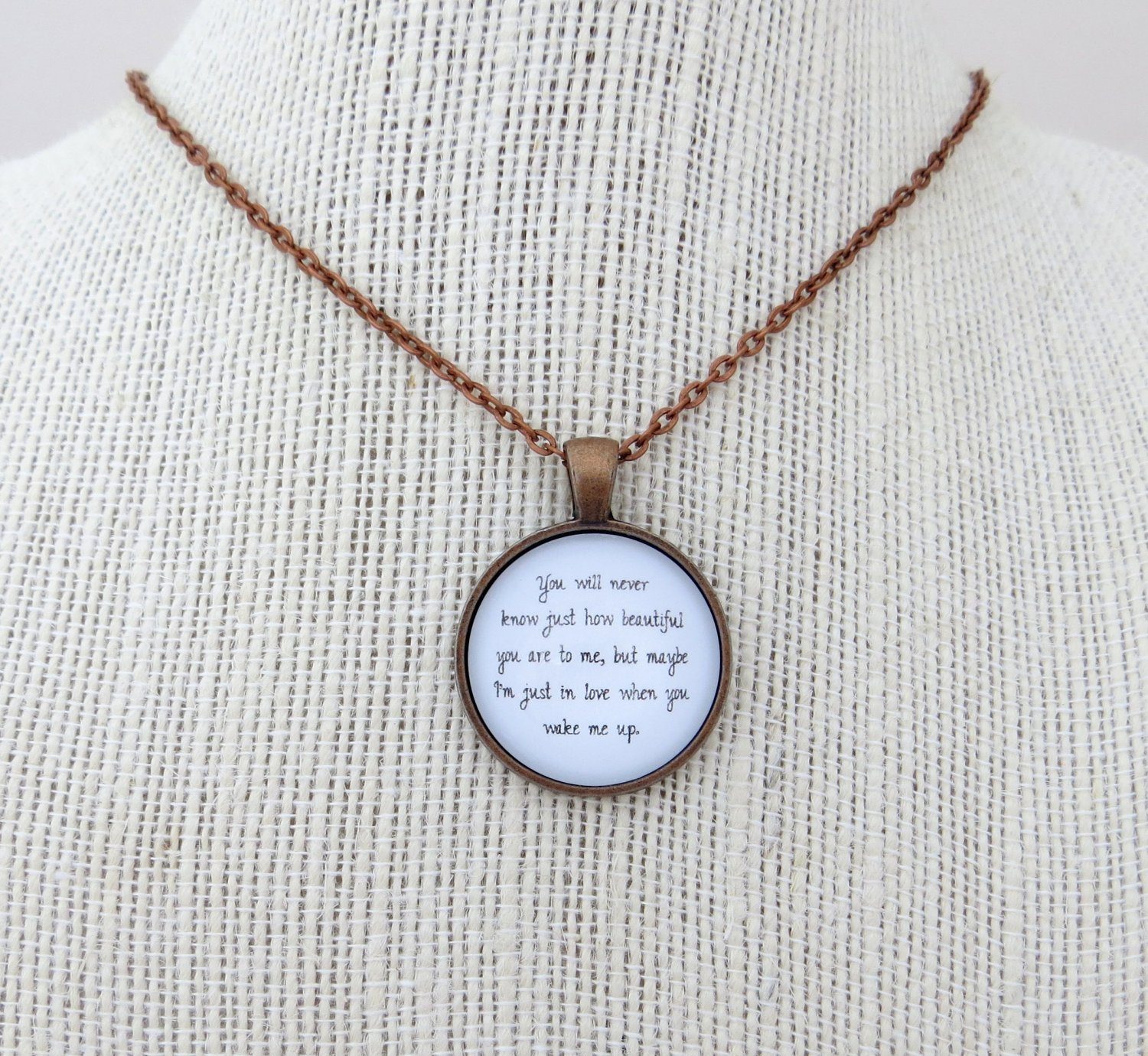 Ed Sheeran Wake Me Up Inspired Lyrical Quote Pendant Necklace (Copper, 18 inches)