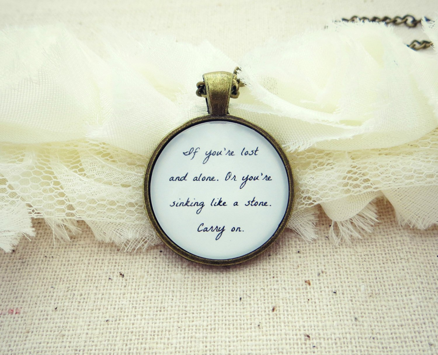 FUN Carry On Inspired Lyrical Quote Pendant Necklace (Brass, 18 inches, F.U.N.)