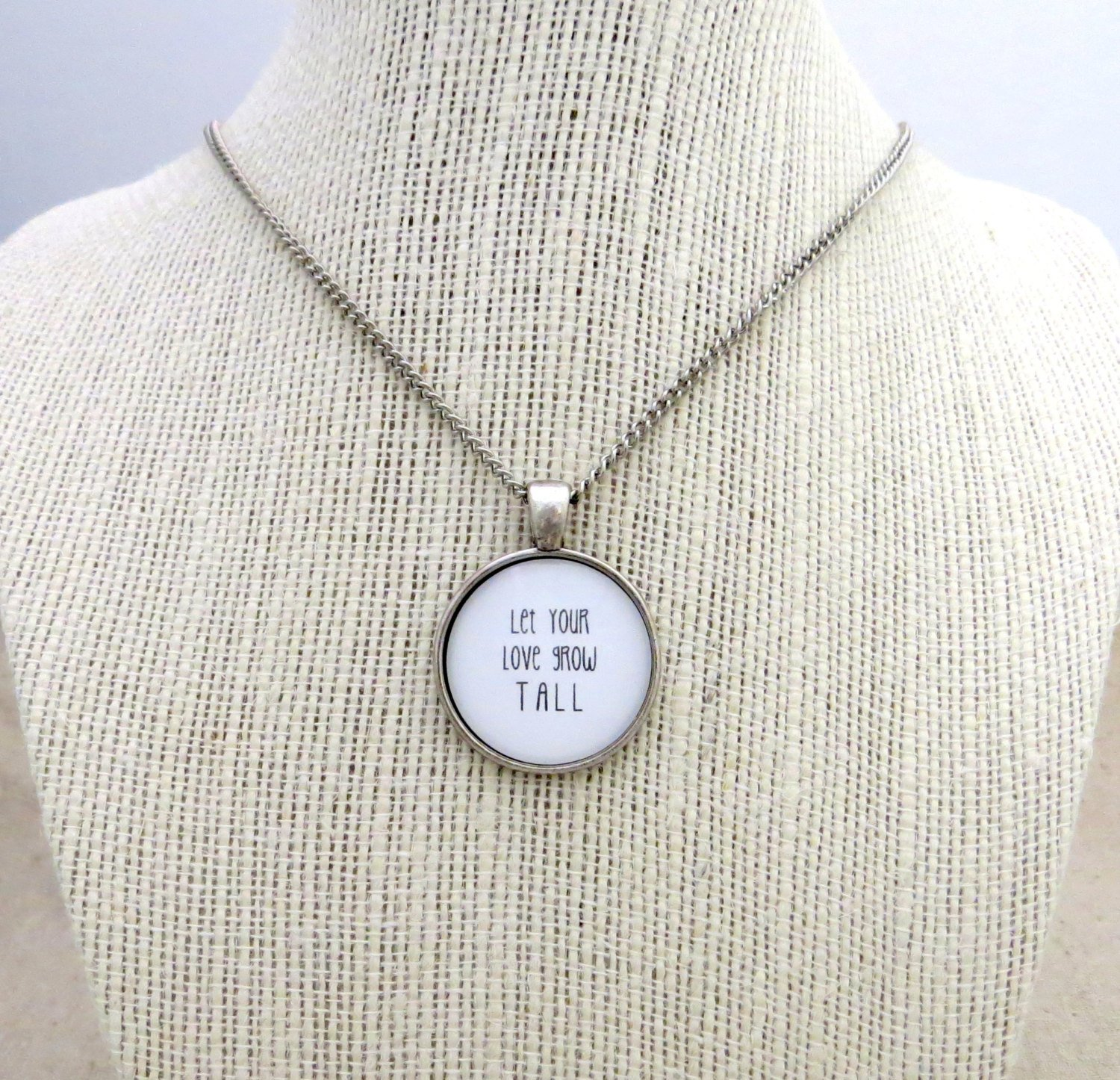 Passion Pit Let Your Love Grow Tall Inspired Lyrical Quote Necklace (Silver, 18 inches)