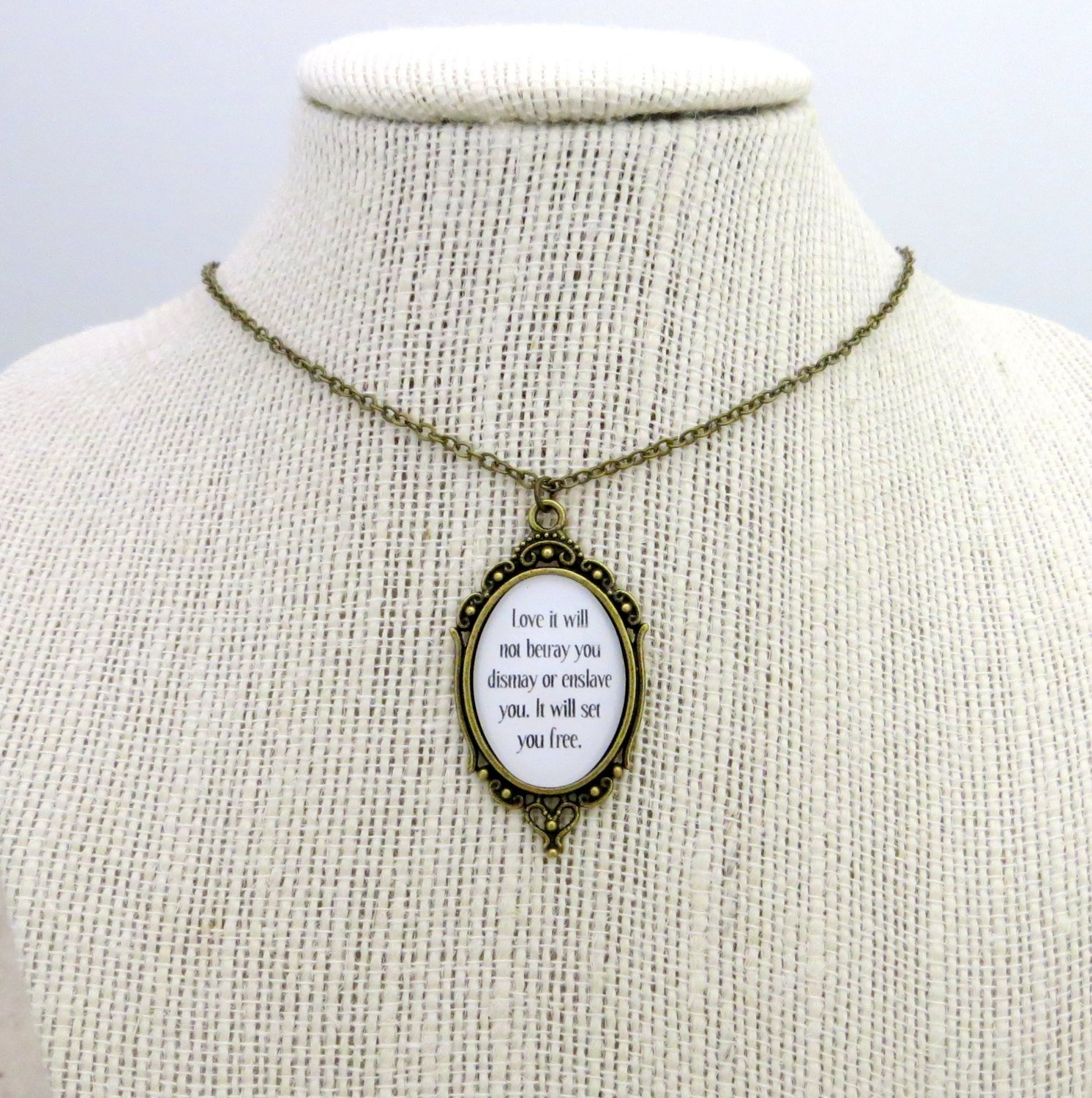 Mumford and Sons Sigh No More Inspired Lyrical Quote Necklace (Brass, 18 inches)