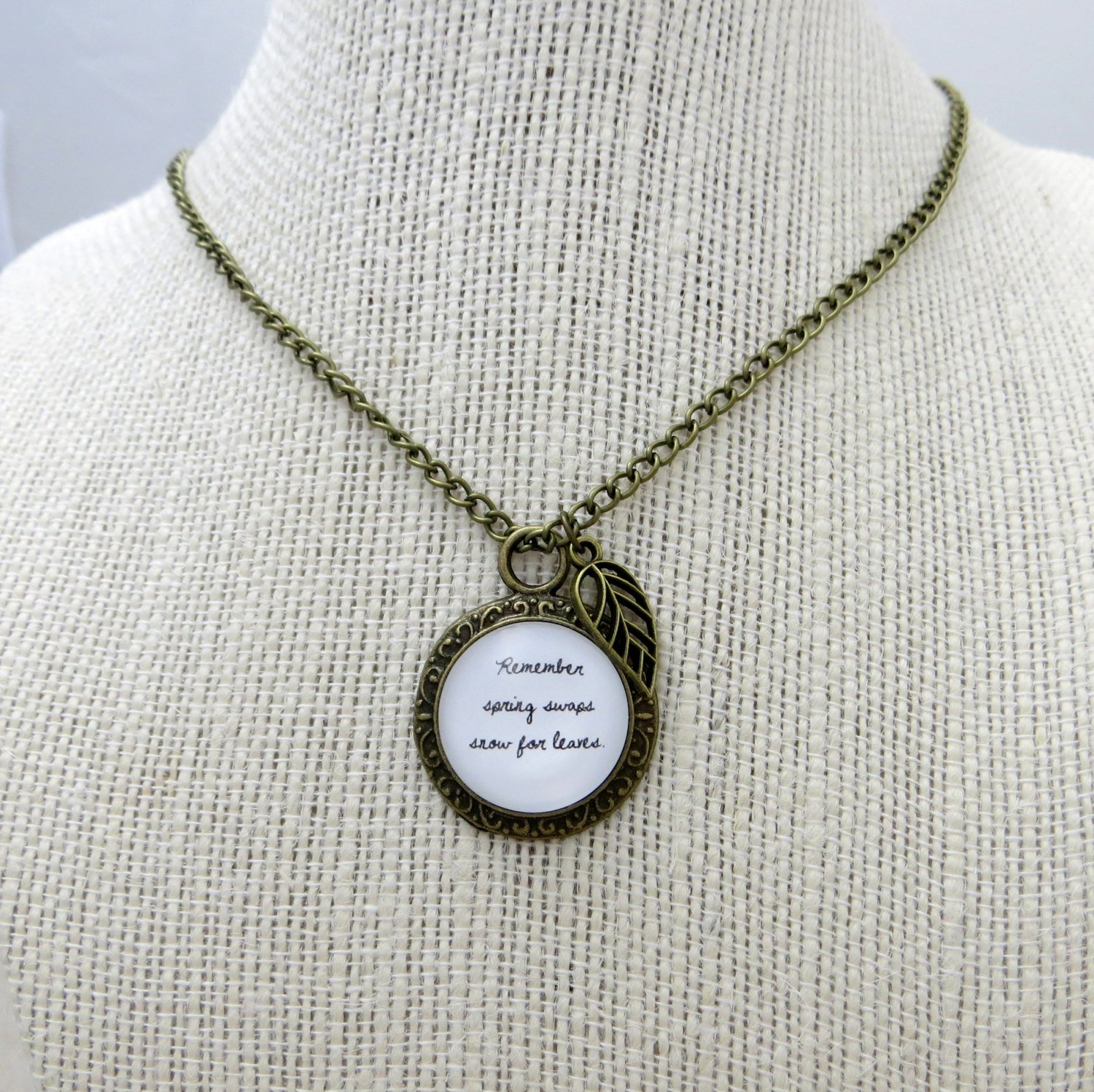 Mumford and Sons Winter Winds Inspired Lyrical Quote Necklace(Brass, 18 inches)