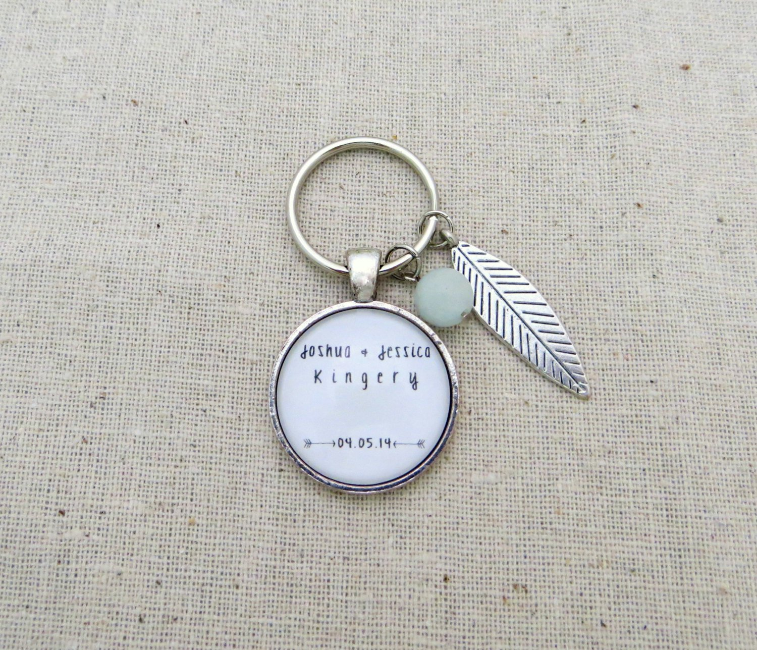 Personalized Keychain with Name, Last Name, Wedding Date (Silver, Newlywed Gift)
