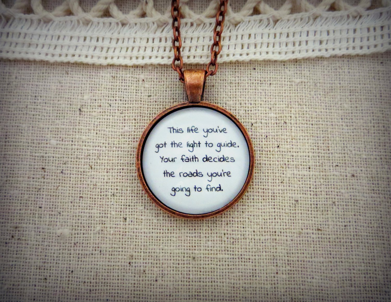 Washed Out Amor Fati Inspired Lyrical Quote Pendant Necklace (Copper, 18 inches)