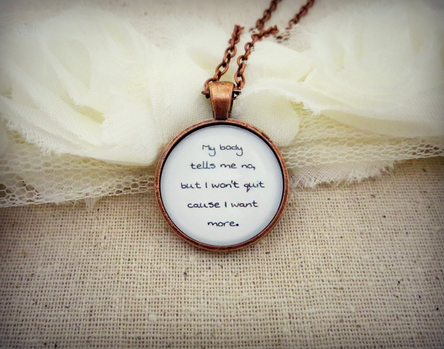 Young The Giant My Body Inspired Lyrical Quote Pendant Necklace (Copper, 18 inches)