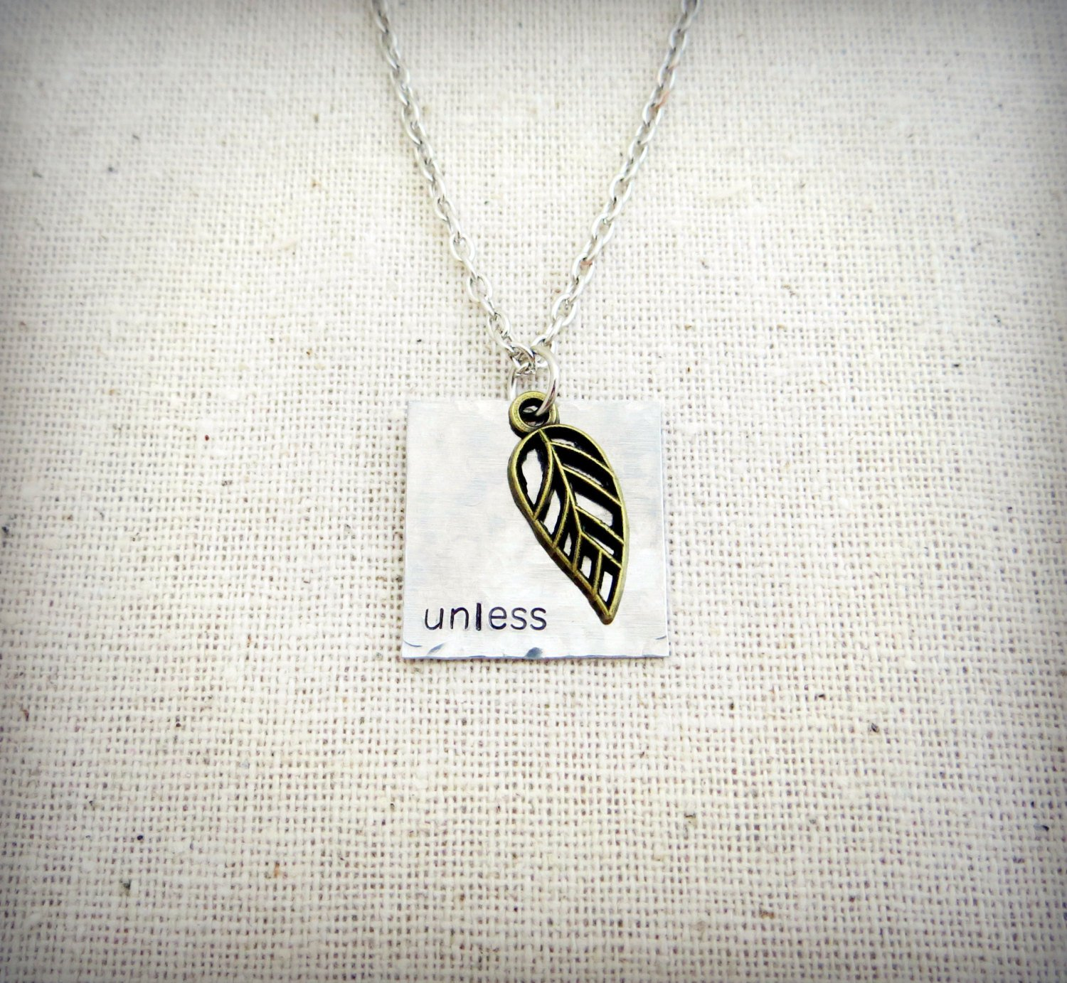 Unless Hammered Stamped Necklace with Leaf Charm (Silver, 18 inches)