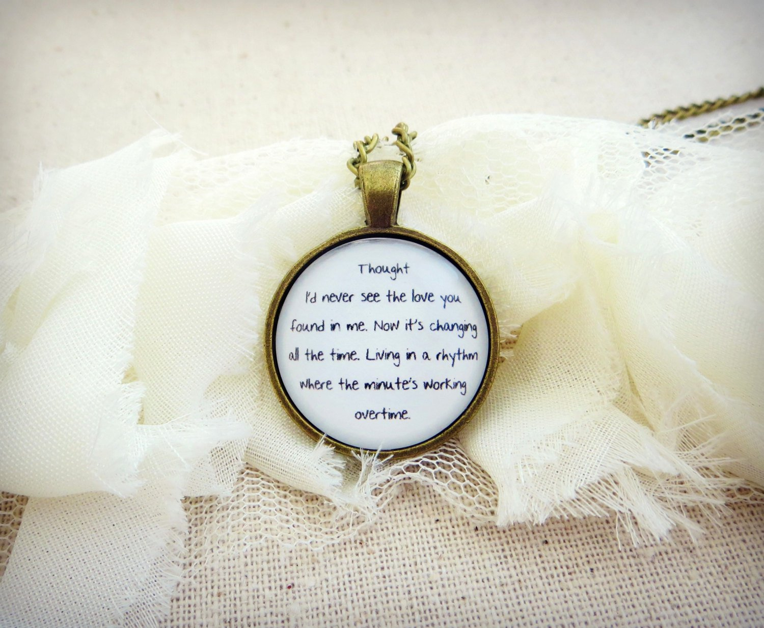 Empire of The Sun Walking on A Dream Inspired Lyrical Quote Necklace (Brass, 18 inches)