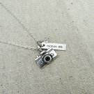 Capture Life Hand Stamped Camera Charm Necklace with Swarovski (Silver, 18 inches)