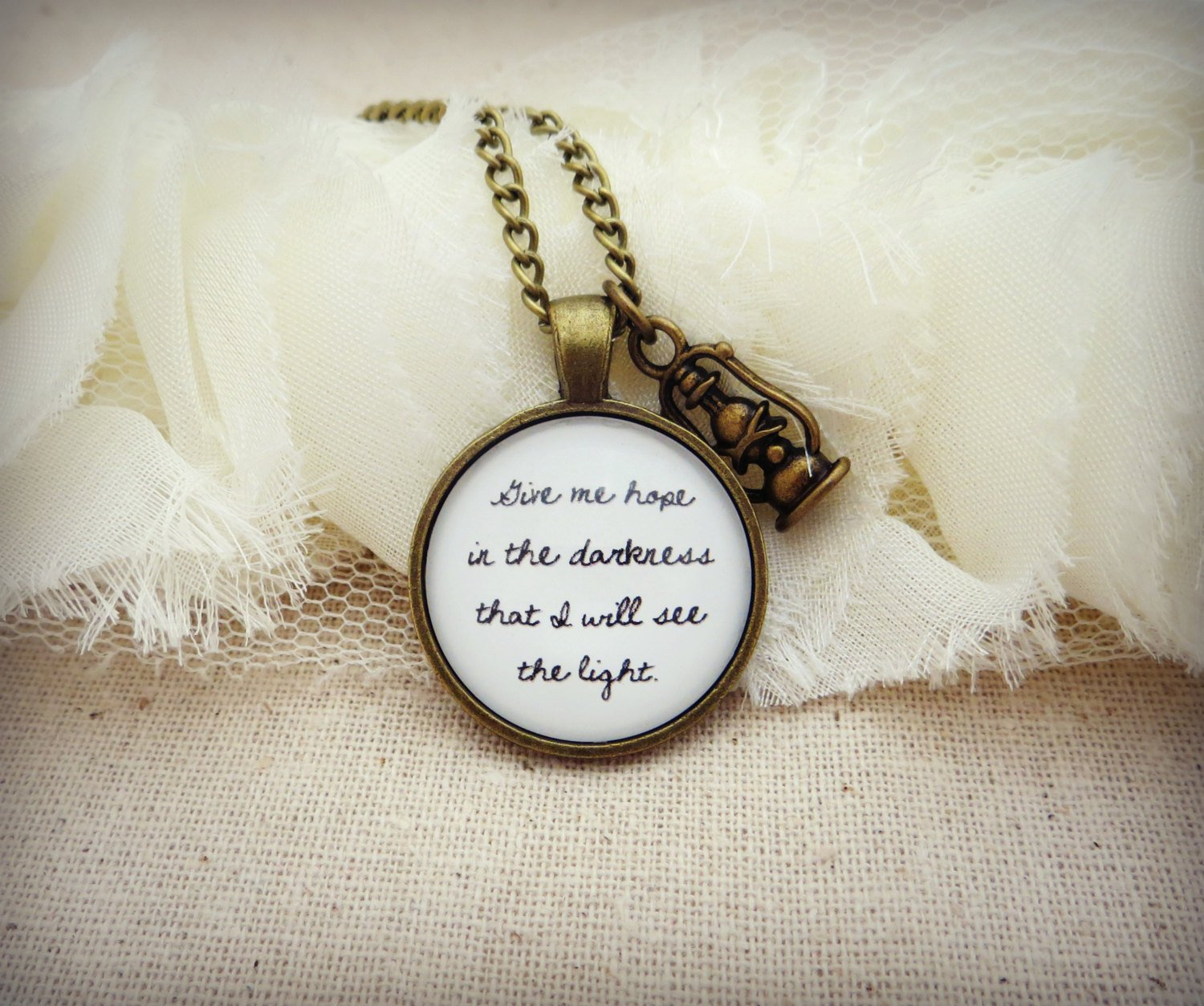 Mumford and Sons Ghosts That We Knew Inspired Lyrical Quote Necklace (Brass, 18 inches)