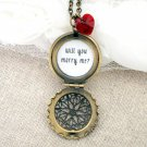 Will You Marry Me Filigree Locket Necklace with Red Swarovski Heart (Engagement, Brass)