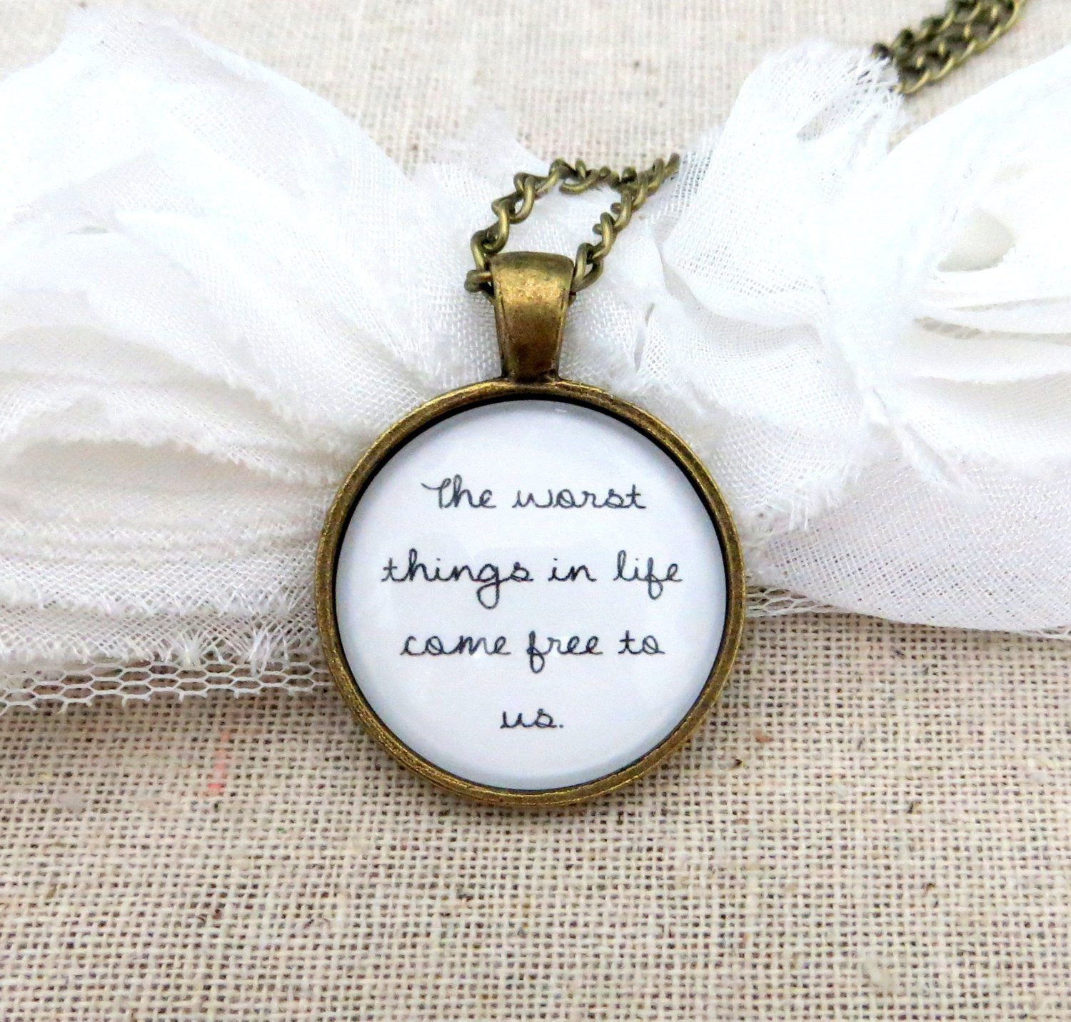 Ed Sheeran The A Team Inspired Lyrical Quote Pendant Necklace (Brass, 18 inches)