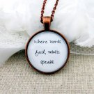 Hans Christian Anderson Inspired Music Quote Necklace Where Words Fail (Copper, 18 inches)