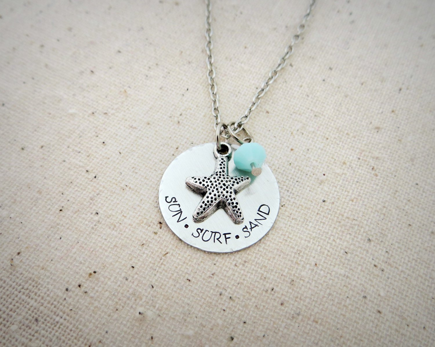 Sun Surf Sand Hand Stamped Charm Necklace With Star Fish and Swarovski (Silver, 18 inches)