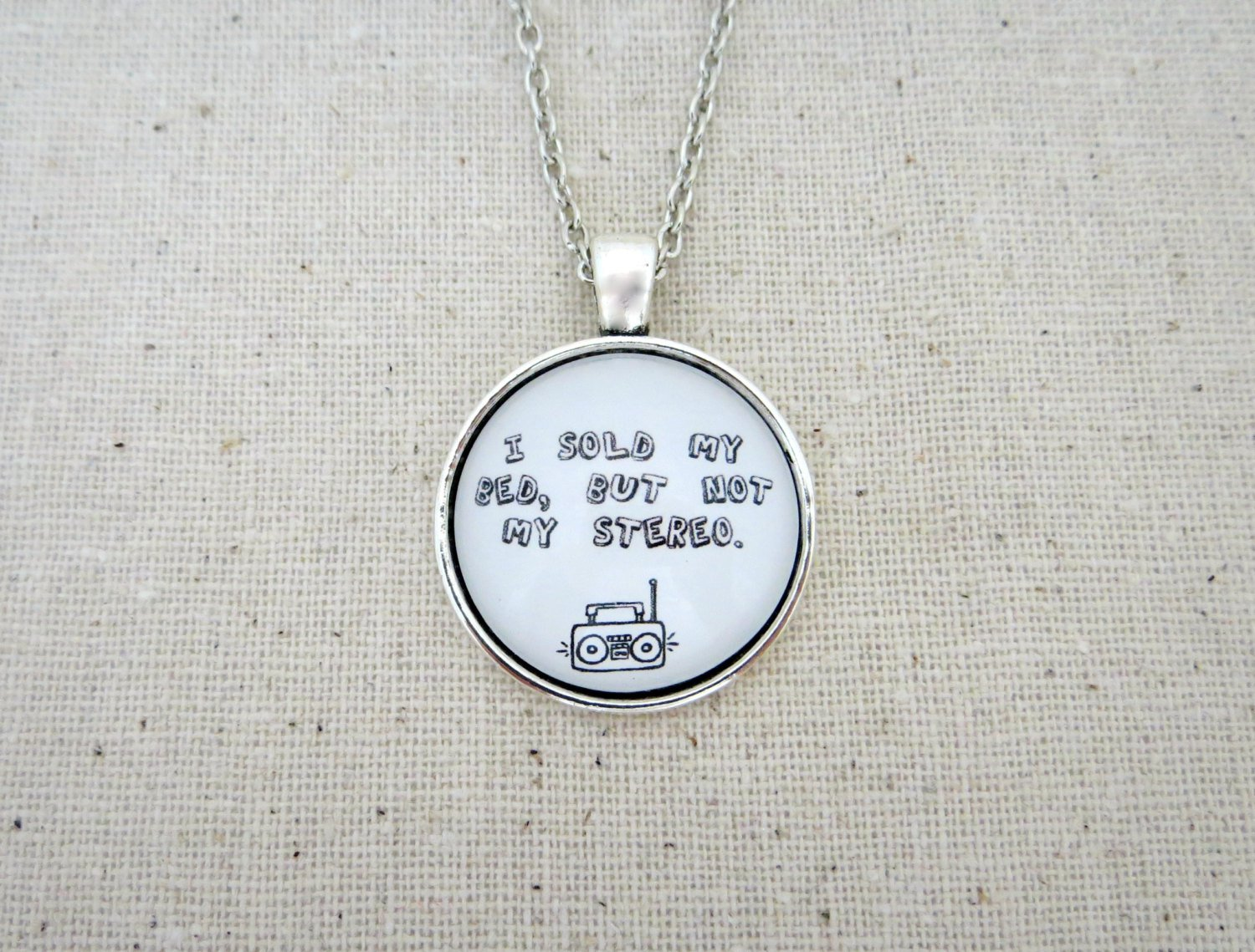 Capital Cities I Sold My Bed But Not My Stereo Inspired Lyrical Quote Necklace (Silver, 18 in)