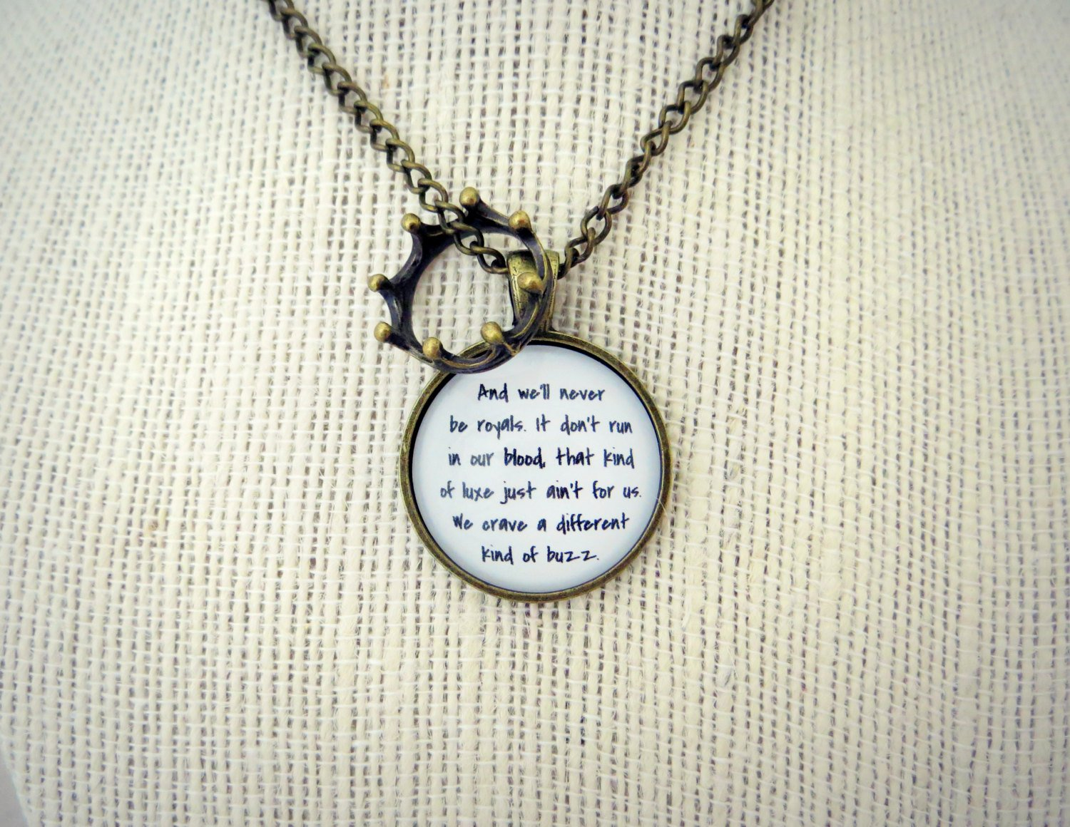 Lorde Royals Inspired Lyrical Quote Pendant Necklace with Crown Charm (Brass, 18 inches)