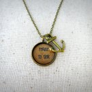 Refuse To Sink Inspirational Quote Pendant Necklace With Anchor Charm (Brass, 18 inches)