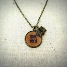 Book Nerd Inspirational Quote Pendant Necklace With Book Charm (Brass)