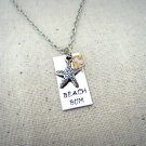 Beach Bum Silver Hand Stamped Necklace With Swarovski Crystal and Starfish Charm