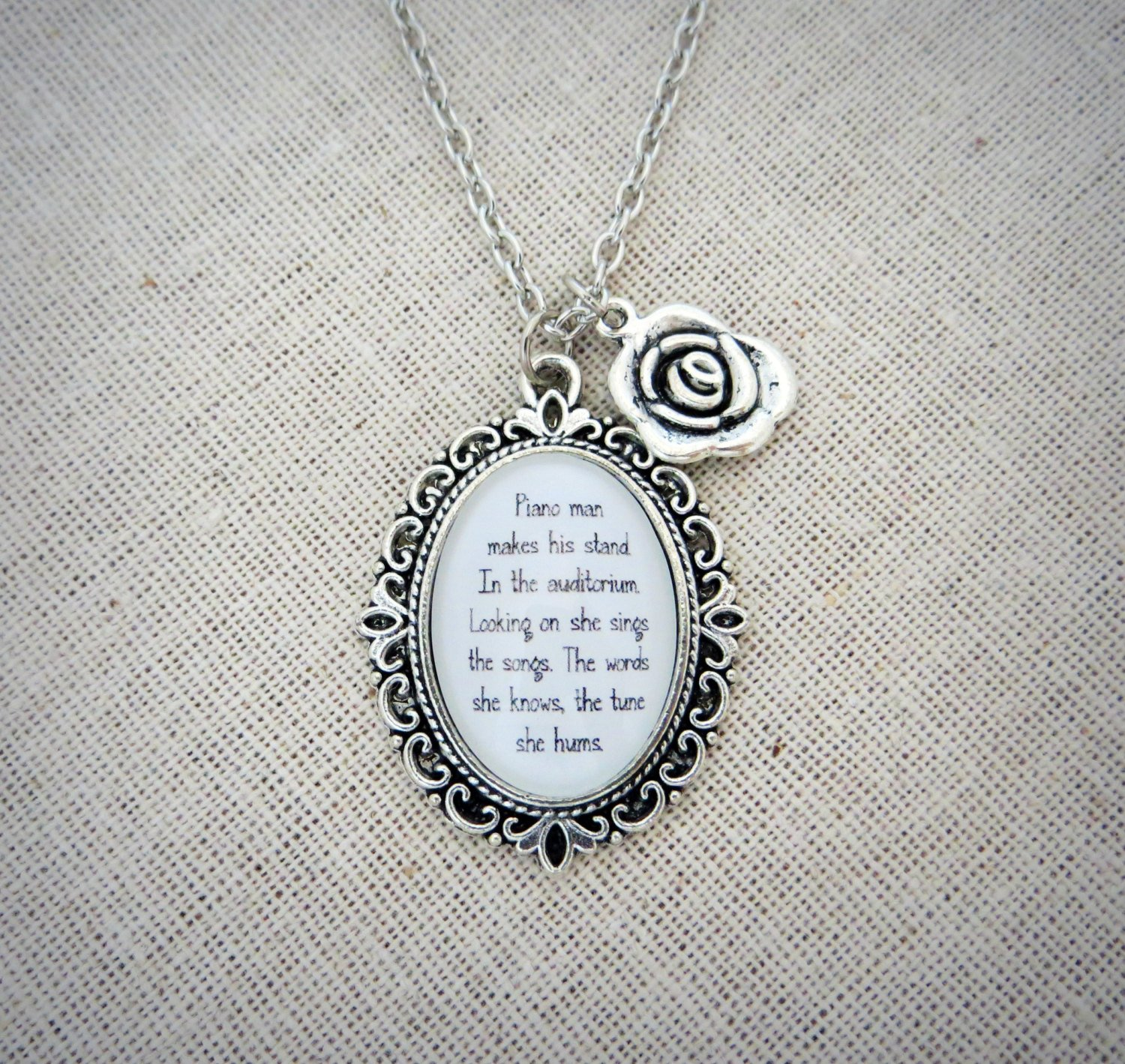 Elton John Tiny Dancer Inspired Lyrical Quote Necklace with Silver Flower Charm