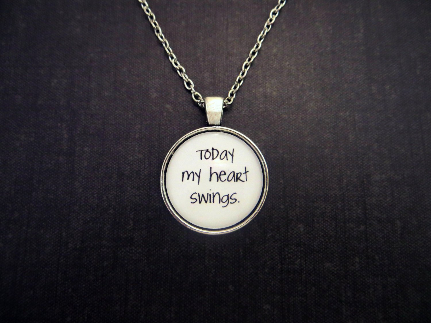 Interpol Heinrich Maneuver Inspired Lyrical Quote Pendant Necklace (Silver, 18 in)