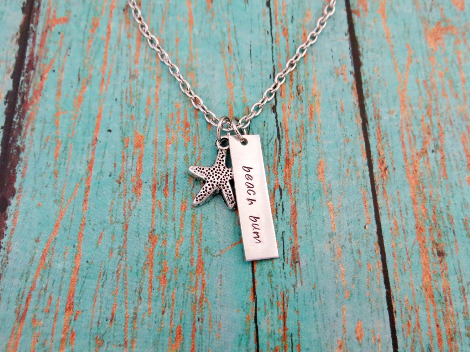 Beach Bum Hand Stamped Necklace With Starfish Charm (Ocean, Sand, Sea, Silver)