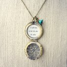 Mumford And Sons Hopeless Wanderer Inspired Lyrical Quote Locket Necklace Leaf & Flower Charm