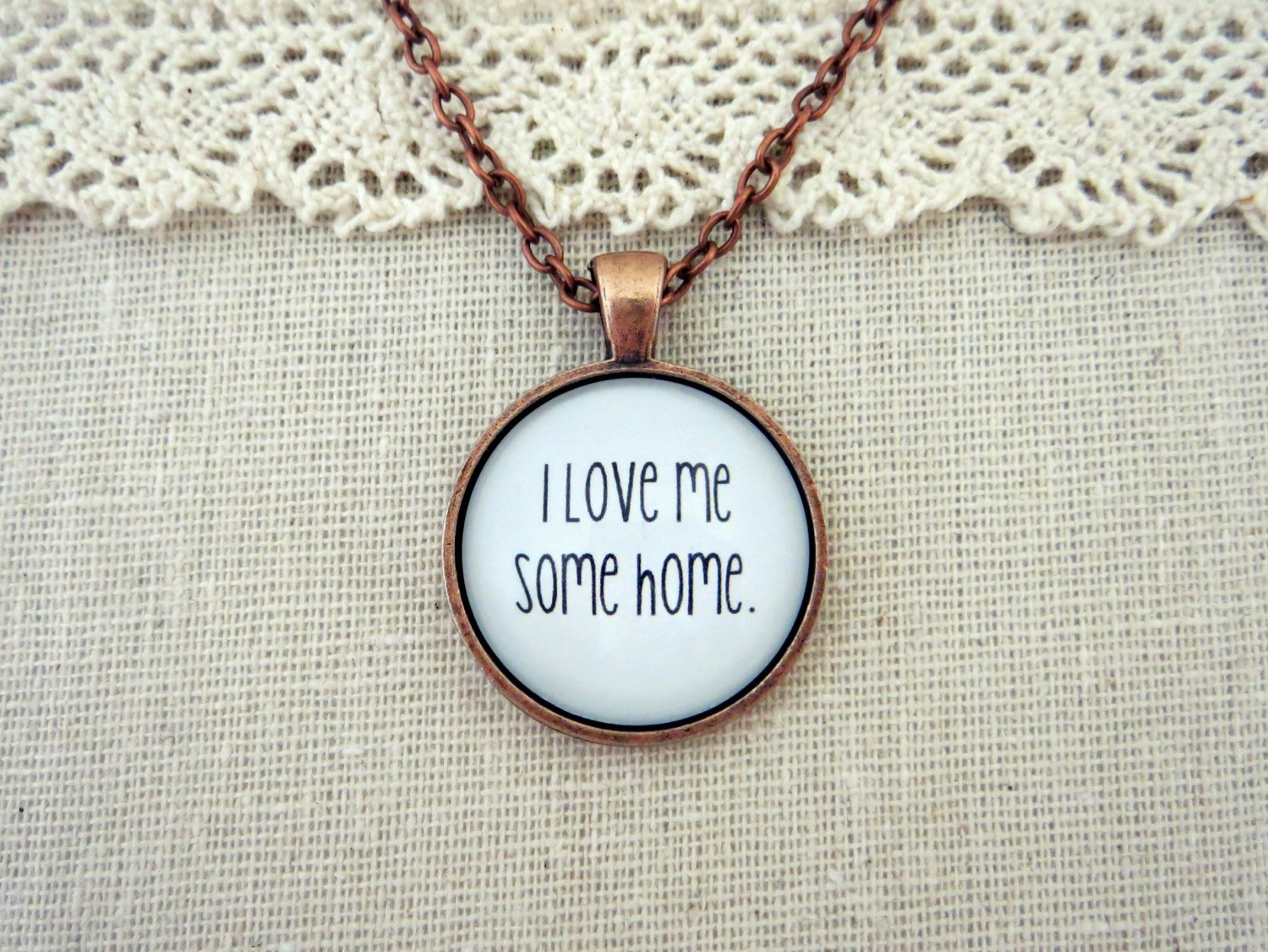 Johnnyswim Home Inspired Lyrical Quote Pendant Necklace (Handcrafted Copper, 18 in)