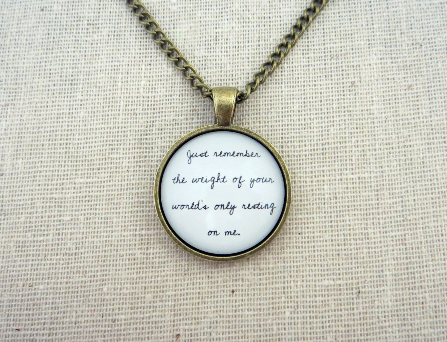 Milo Greene Son My Son Inspired Lyrical Quote Pendant Necklace (Handcrafted Brass, 18 in)