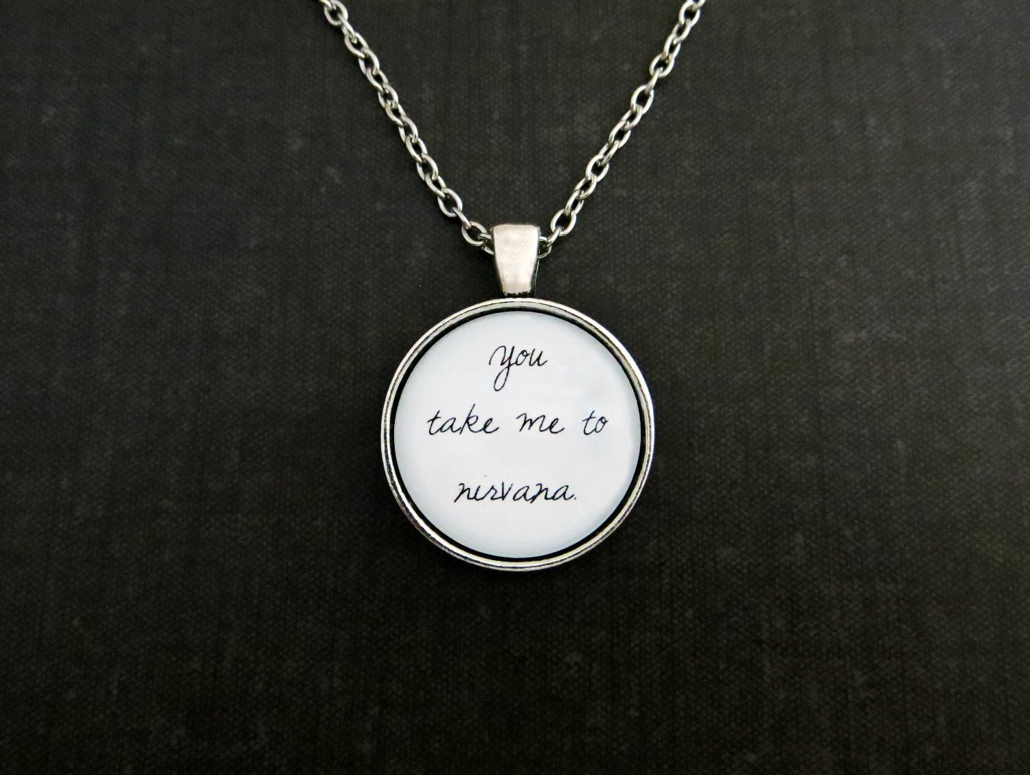 Sam Smith Nirvana Inspired Lyrical Quote Pendant Necklace (Handcrafted, 18 inches)