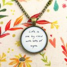 Bob Marley Wake Up and Live Inspired Lyrical Quote Pendant Necklace (Handcrafted 18 inches)