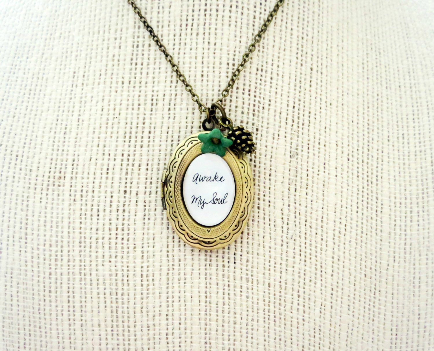 Mumford And Sons Awake My Soul Inspired Locket Necklace Pinecone Flower Charm (18 inches)