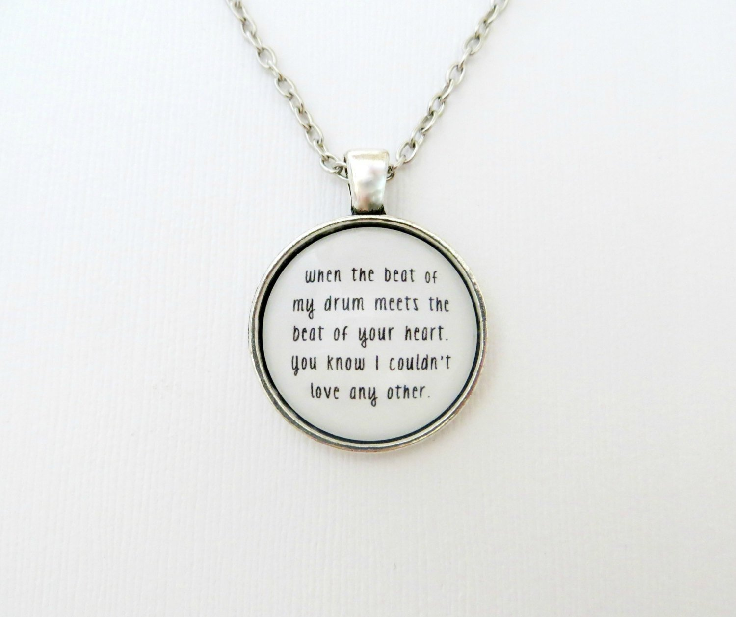 Young The Giant Crystallized Inspired Lyrical Quote Pendant Necklace (Silver, 18 inches)