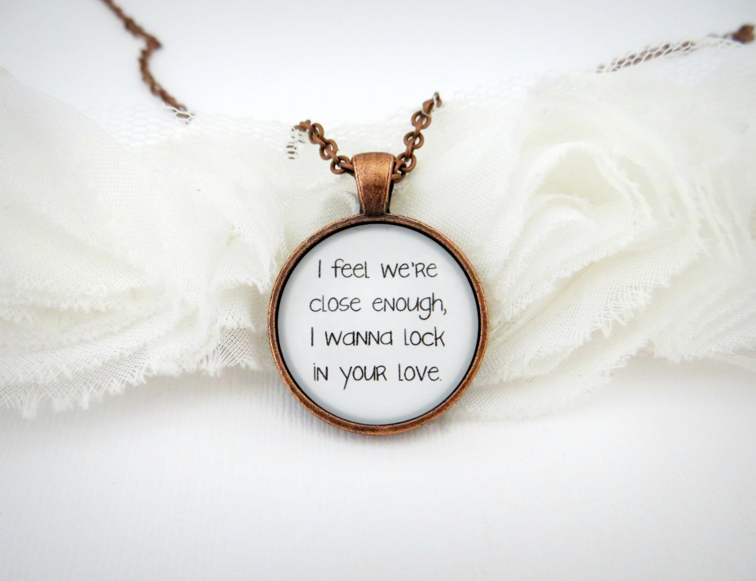 Sam Smith Latch Inspired Lyrical Quote Pendant Necklace (Copper, 18 inches)