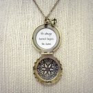 Florence and the Machine Shake It Out Inspired Brass Locket Necklace with Flower Charm (18 inches)