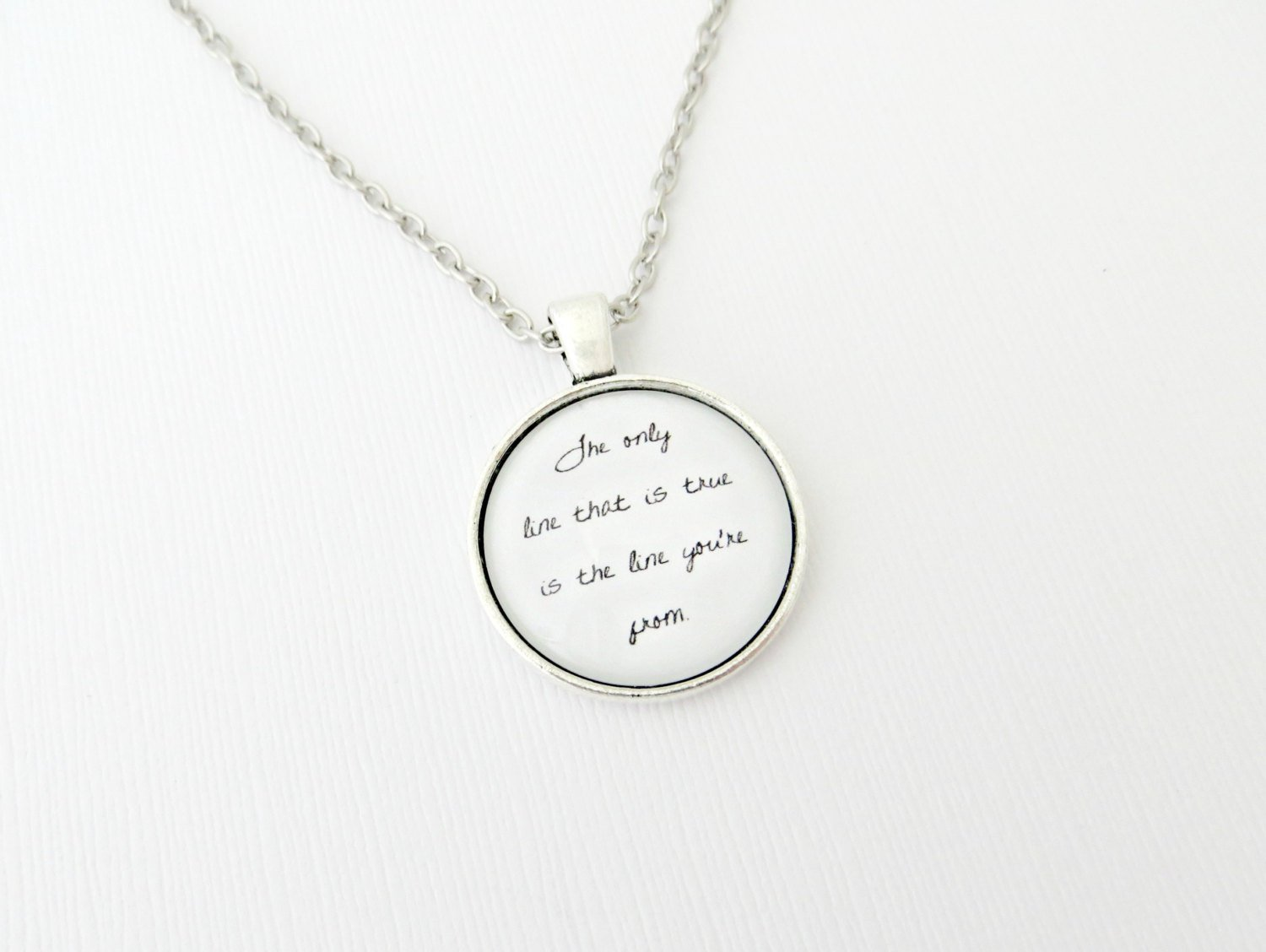 Blind Pilot One Red Thread Inspired Lyrical Quote Pendant Necklace (Silver 18 inches)