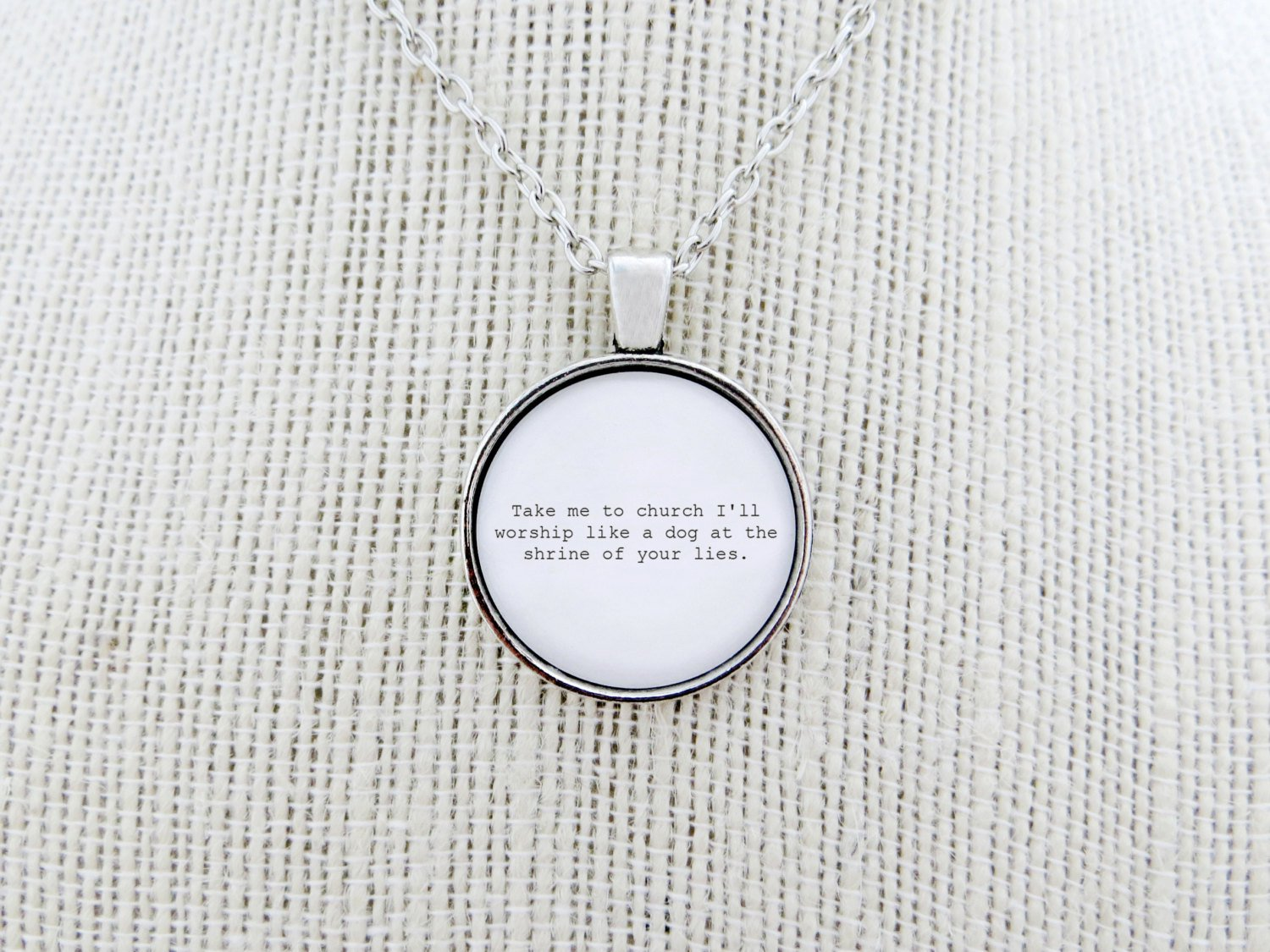 Hozier Take Me To Church Inspired Lyrical Quote Pendant Necklace (Silver, 18 inches)
