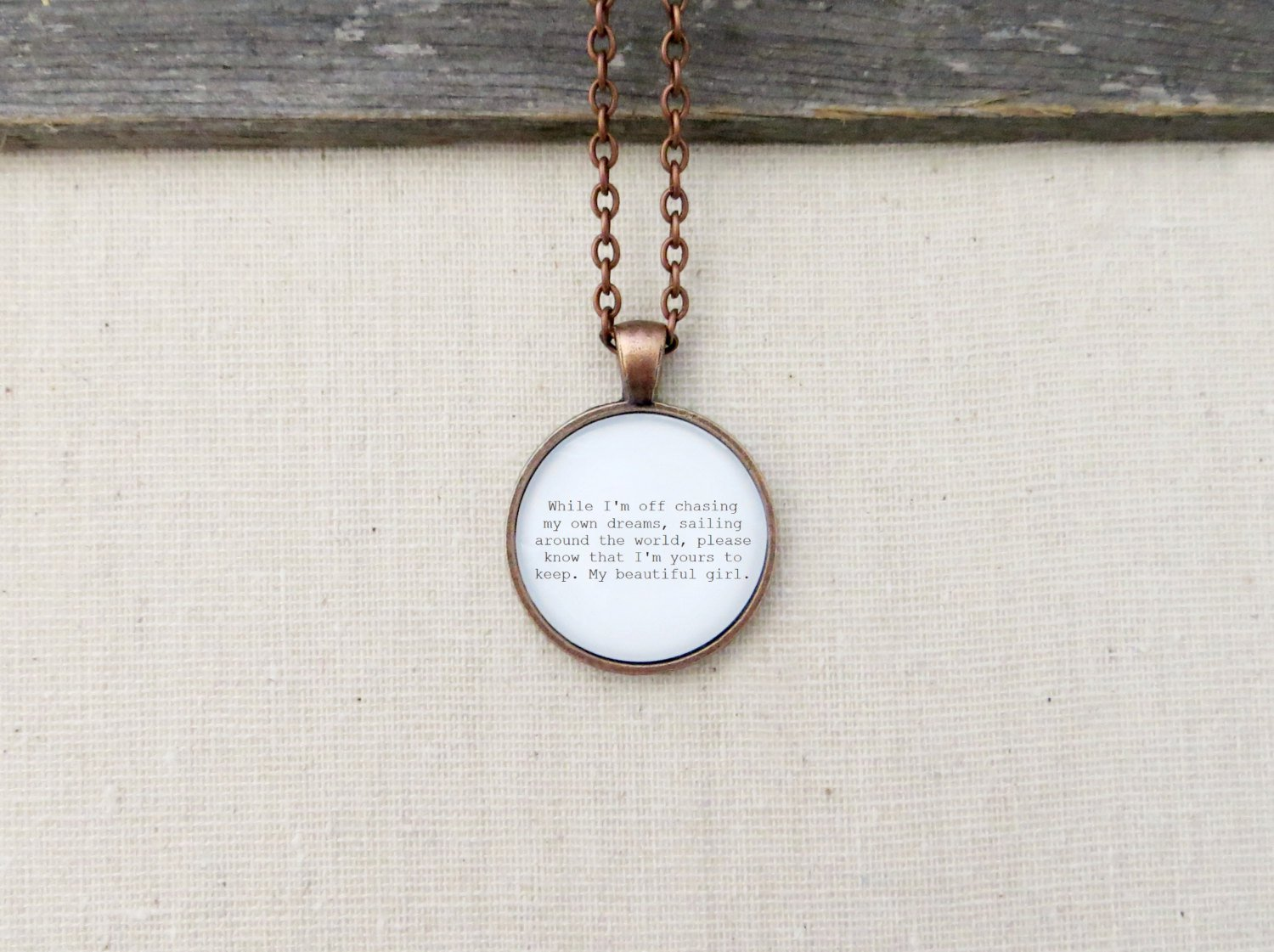 City and Colour Girl Inspired Lyrical Quote Pendant Necklace (Copper, 18 inches)